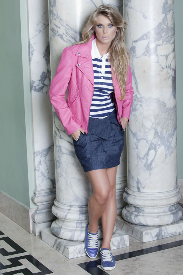 Look Planet Girls: Jaqueta Rosa e Saia Jeans