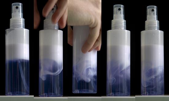 Fluid turbulence in a bottle of hairspray.