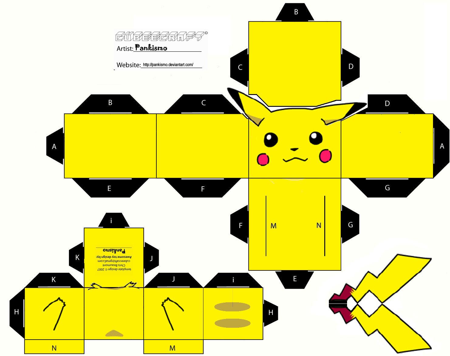 Recortables De Pikachu Cubeecraft