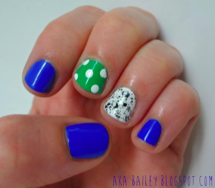 Nail polish, two accent nails, polka dots