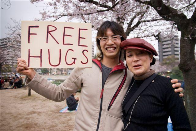 Abrazos gratis en Japón