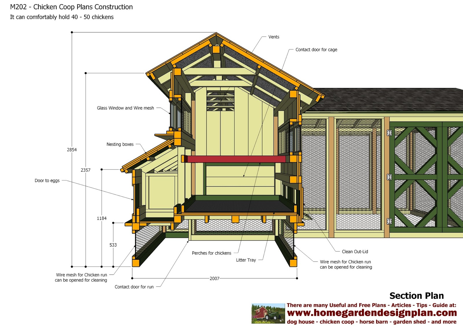 Home garden plans m202 chicken coop plans construction for Plans chicken coop