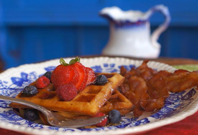 belgian waffle, bacon, fruit, fathers day