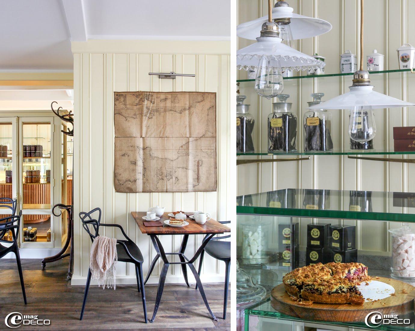 Le salon de thé 'Grain de Vanille' des Maisons de Bricourt est décoré dans un esprit colonial