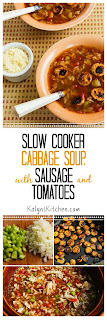 Slow Cooker Cabbage Soup with Tomatoes, Chicken-Garlic Sausage, and Parmesan [found on KalynsKitchen.com]