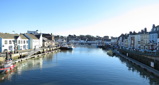 View of Weymouth Harbour (Dorset, England) from the Town Bridge.