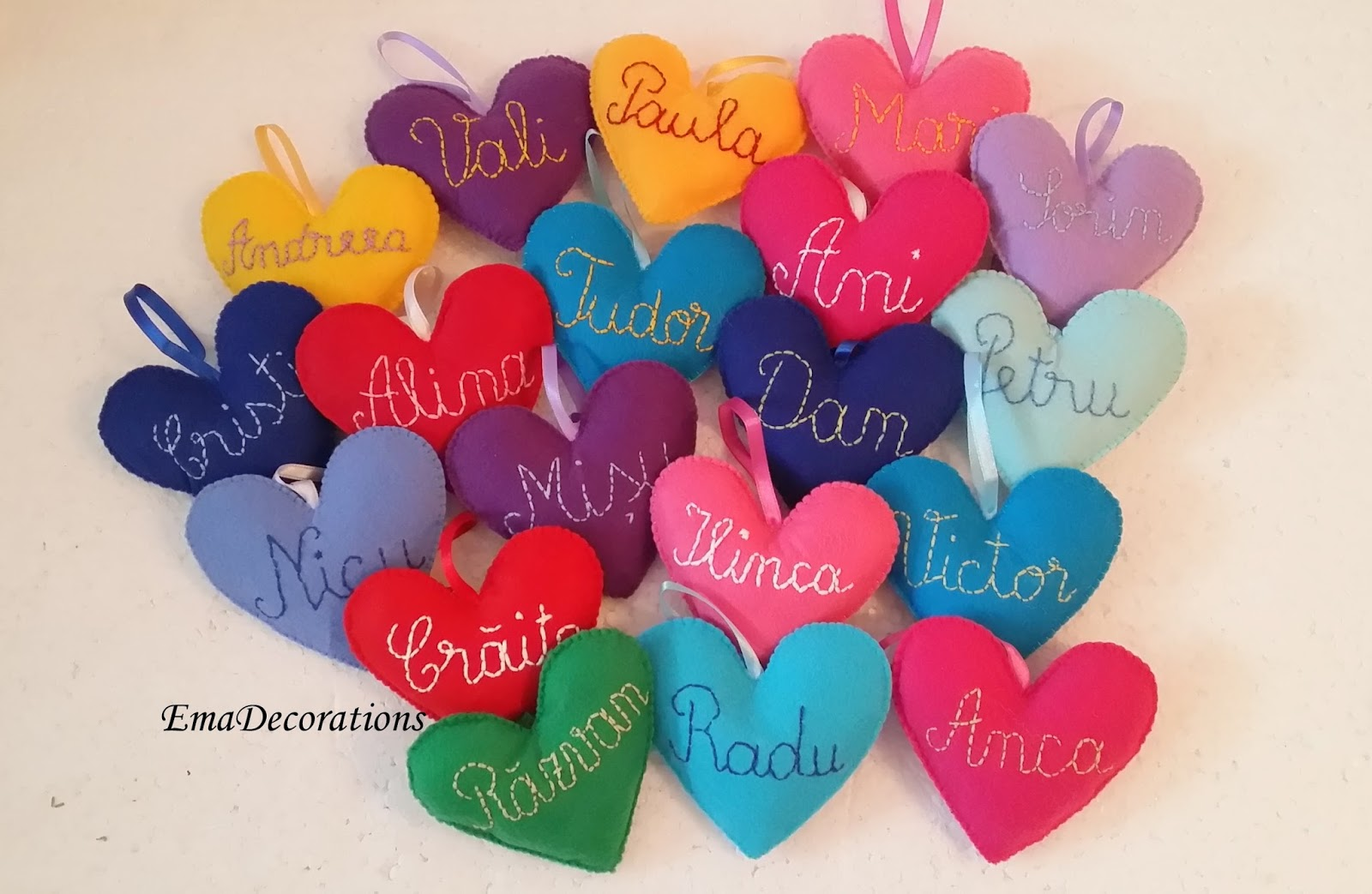 Personalized name ornaments - Personalized Name Heart Ornament These Hearts Are Made As Christmas Ornaments But I Think They Could Be Used For Valentines Too I Made Them From Colorful