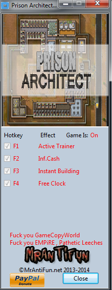 Prison Architect Alpha 23c Trainer +4 MrAntiFun