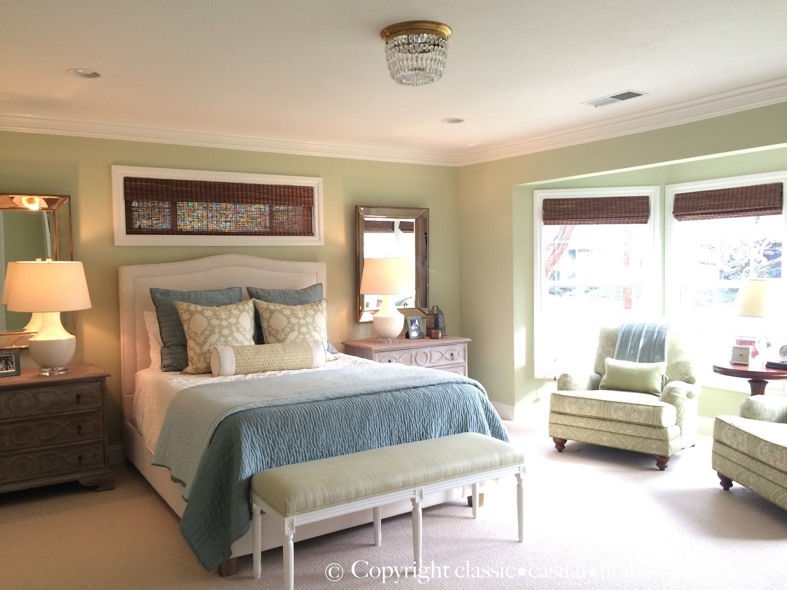 Classic casual home soft green and aqua blue master for Blue master bedroom ideas