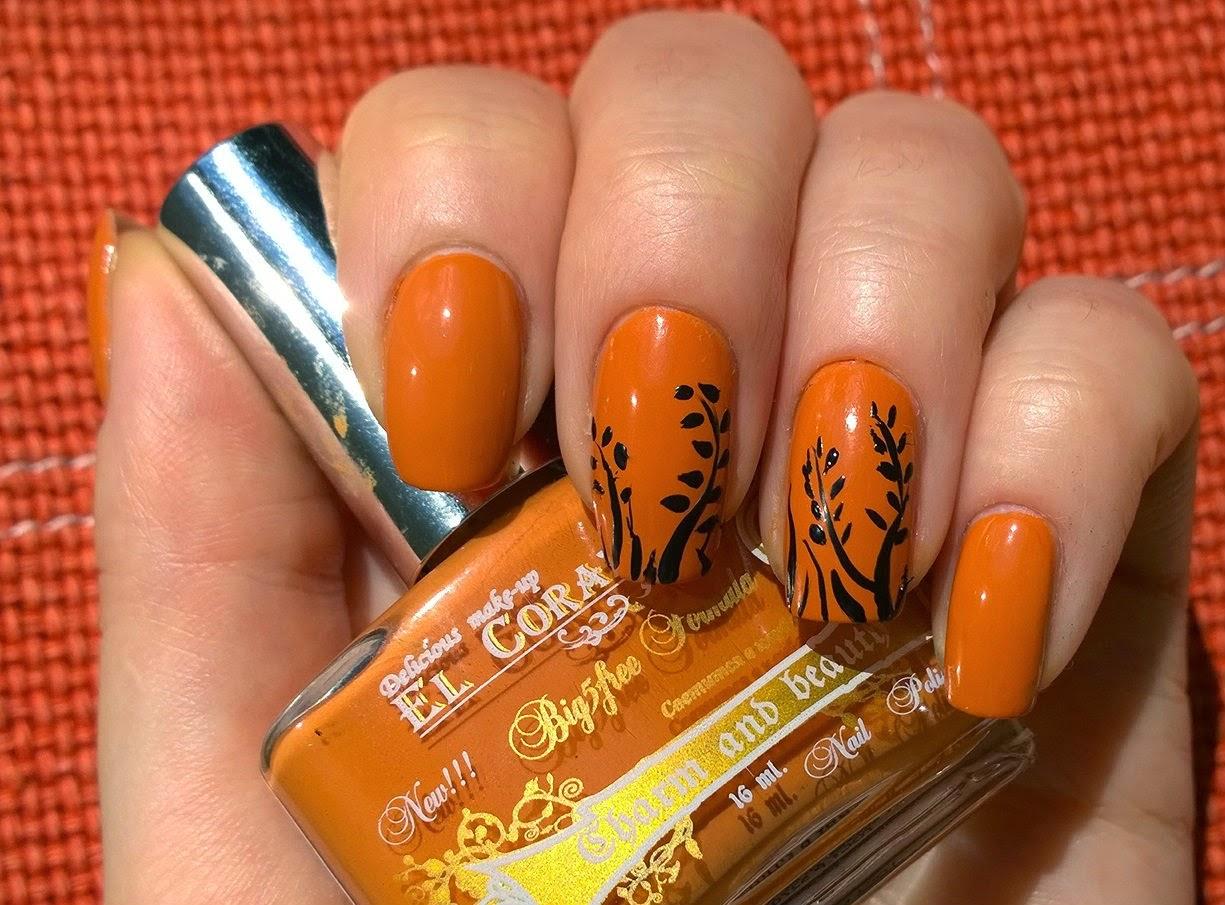 Коричнево оранжевый маникюр