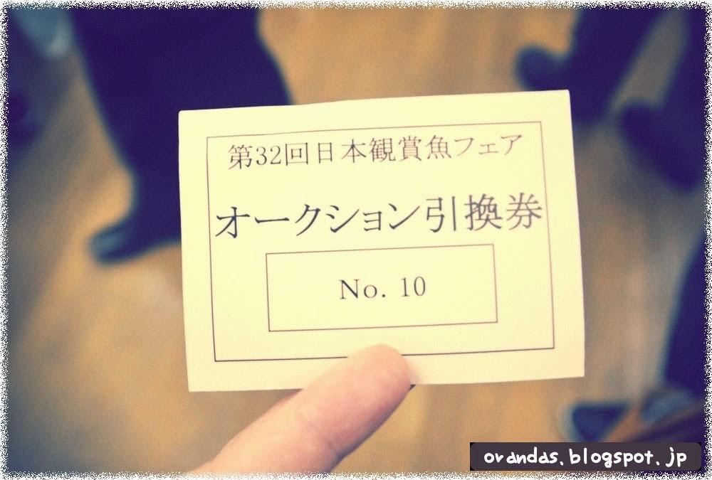 2014年日本観賞魚フェア金魚オークションの金魚引き換え券です。
