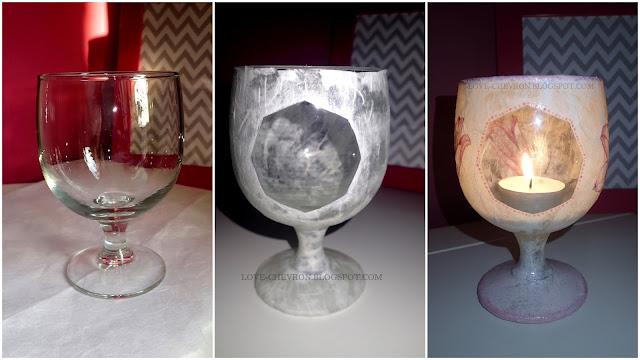 świecznik decoupage'owy z kieliszka