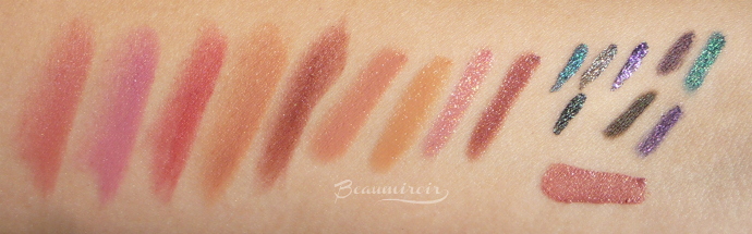 Kiko swatches of the Velvet Mat Satin Lipsticks, Pencil Lip Gloss, liquid eyeliners, eye pencils and Double Touch Lipstick
