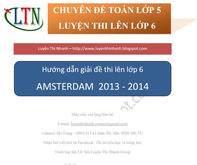 ĐÁP ÁN ĐỀ THI MÔN TOÁN VÀO LỚP 6 TRƯỜNG AMSTERDAM 2013 - 2014
