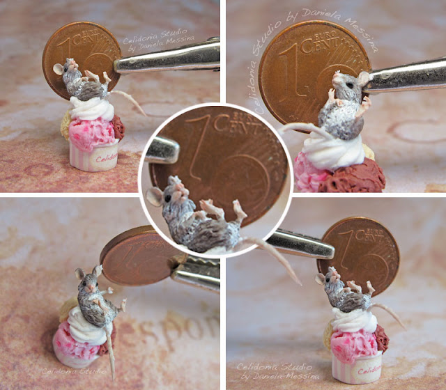 Topino sul Gelato - 1/12 Miniature Mouse by Celidonia - Daniela Messina