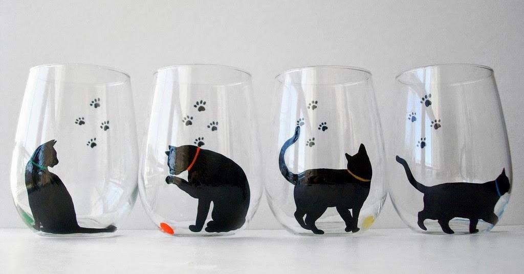 Cat Stemless Wine Glasses