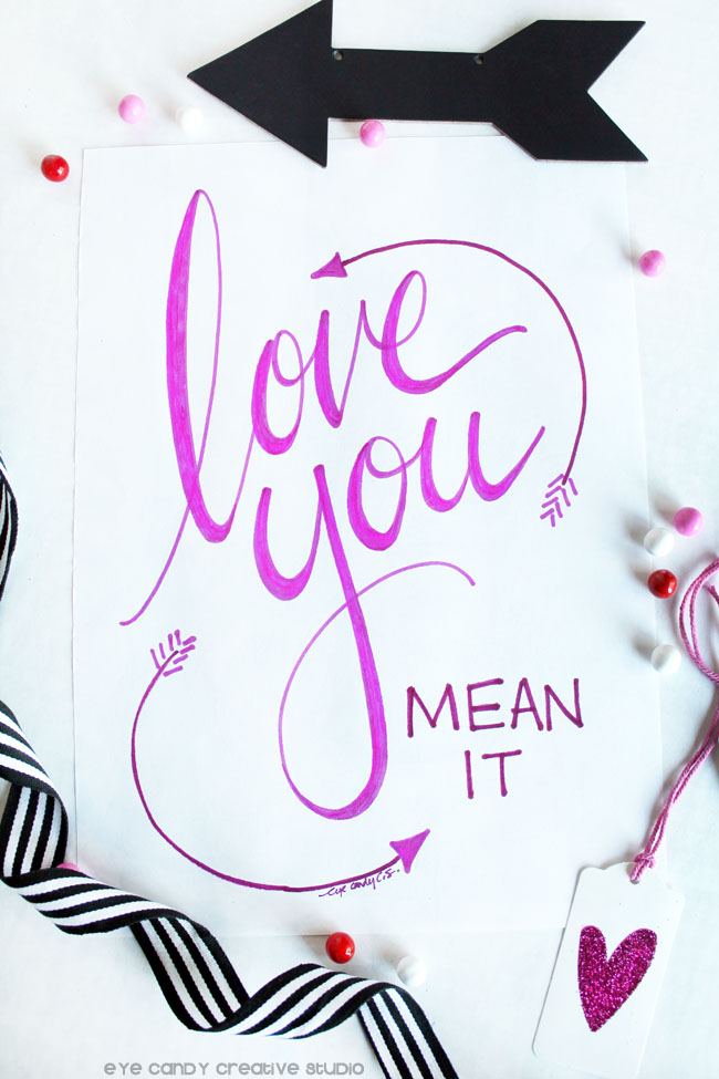 love you artwork, arrow art, valentines art, pink heart, hand lettering