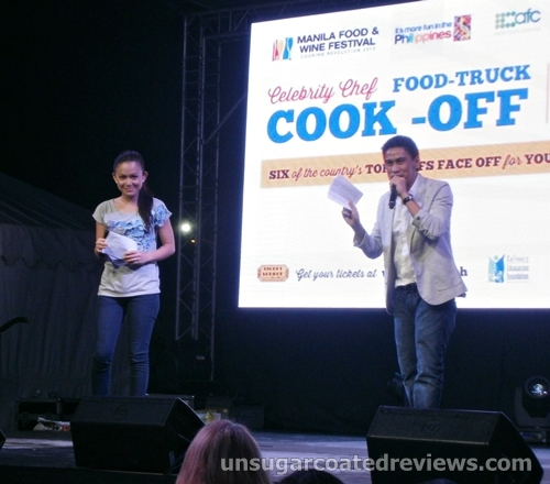 Tuesday Vargas and Ramon Bautista hosting the Celebrity Chef Cook-off (Manila Food and Wine Festival 2013)