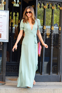 Miranda Kerr leaving the gallery in a green dress