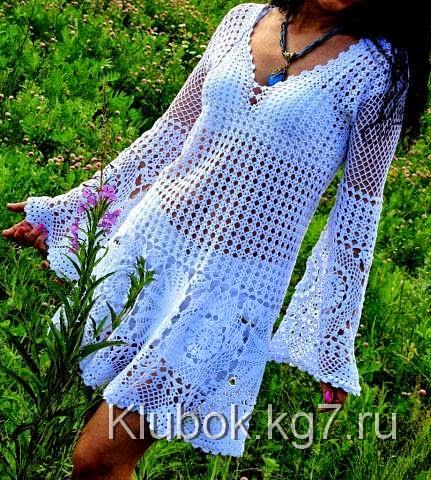 Vestido corto de dama mangas largas y amplias al crochet