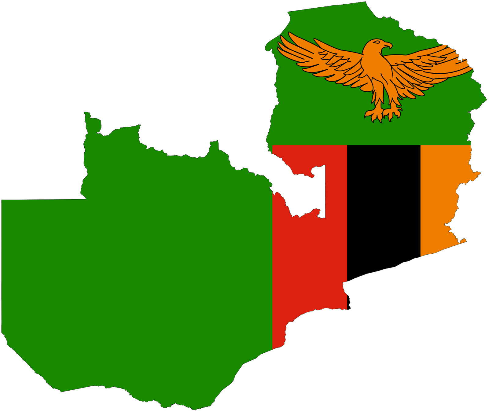 Zambia Map Flag Zambia Flag Coloring Page