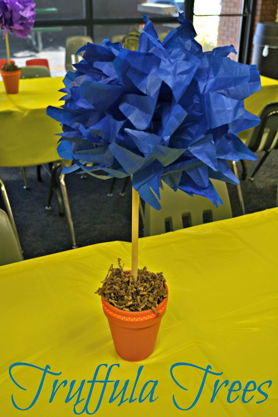Lorax Birthday Party - Truffula Tree Centerpieces #DIY Lorax Birthday Decorations.  How to make Truffula Trees