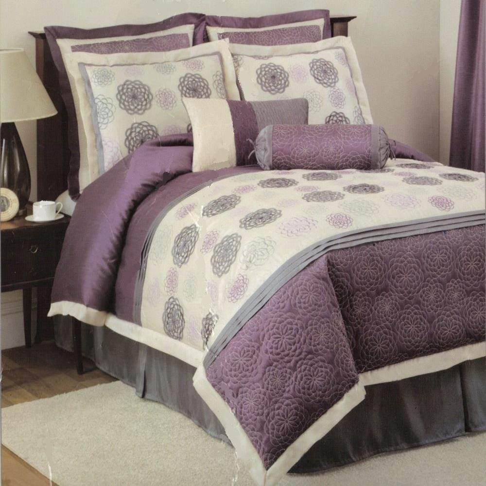 Gray Bed Set : Grey and purple comforter bedding sets