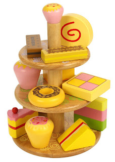 wooden tea and cake stand toy