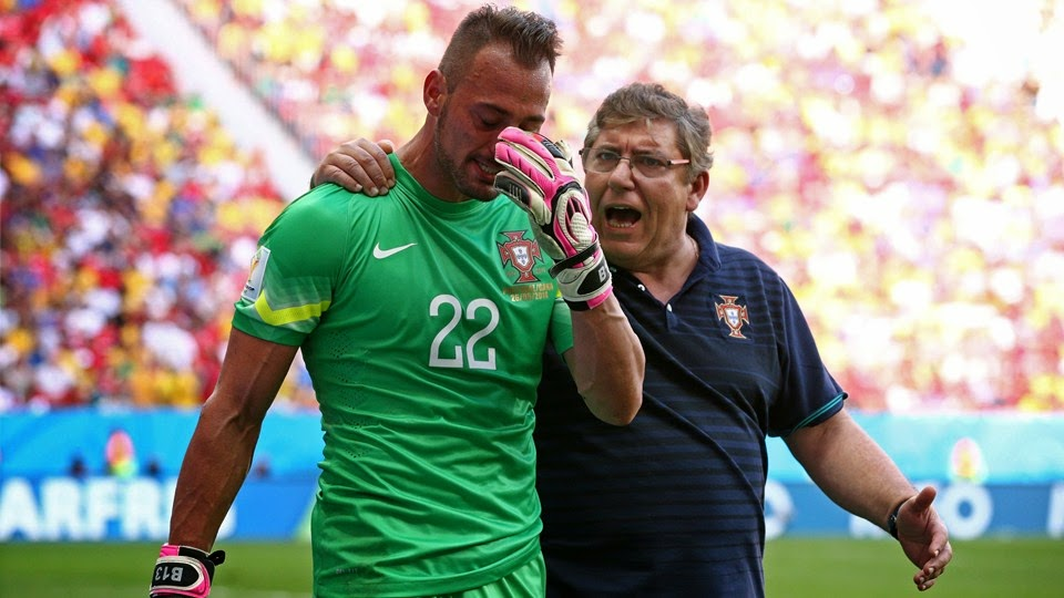 Portugal's Goalkeeper Beto crying on his way out of the field