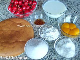 Tort de cirese cu budinca de vanilie ingrediente reteta