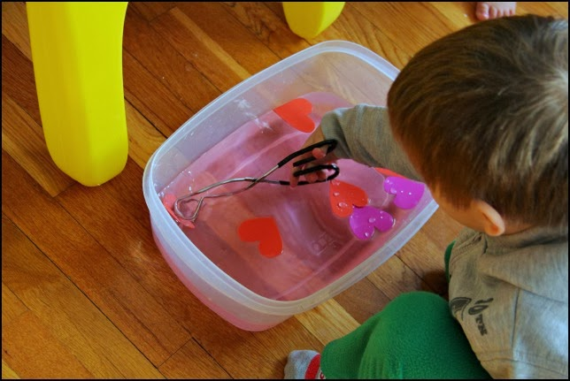 Sensory play activity for Valentine's Day.