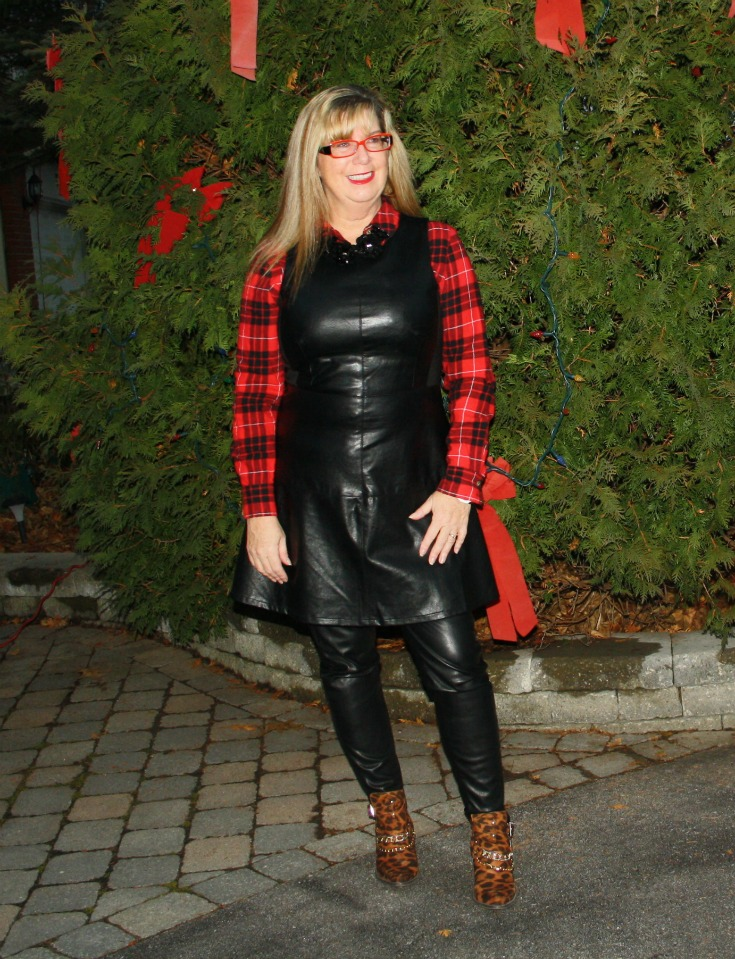 21 leather dress with buffalo plaid shirt and some leopard boots 3
