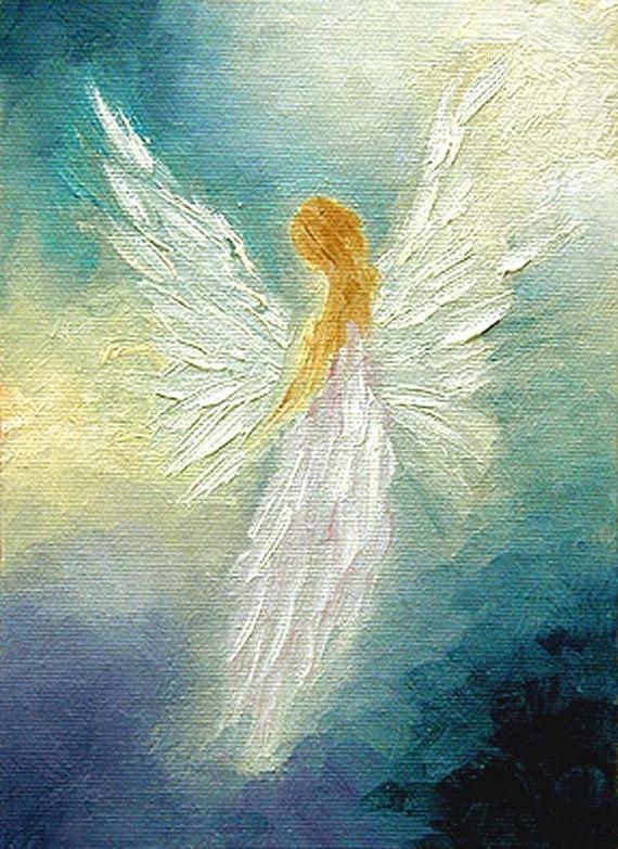 Adventures In Daily Painting: Angel Art Print, Spiritual Healing Art ... Oil Paintings Of Angels