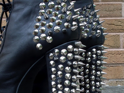 Jeffrey Campbell lita spike in black leather / silver spikes