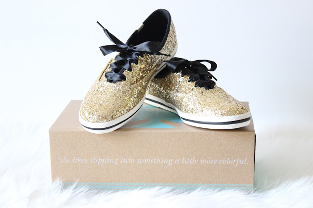 Kate Spade x Keds Gold Glitter Sneakers
