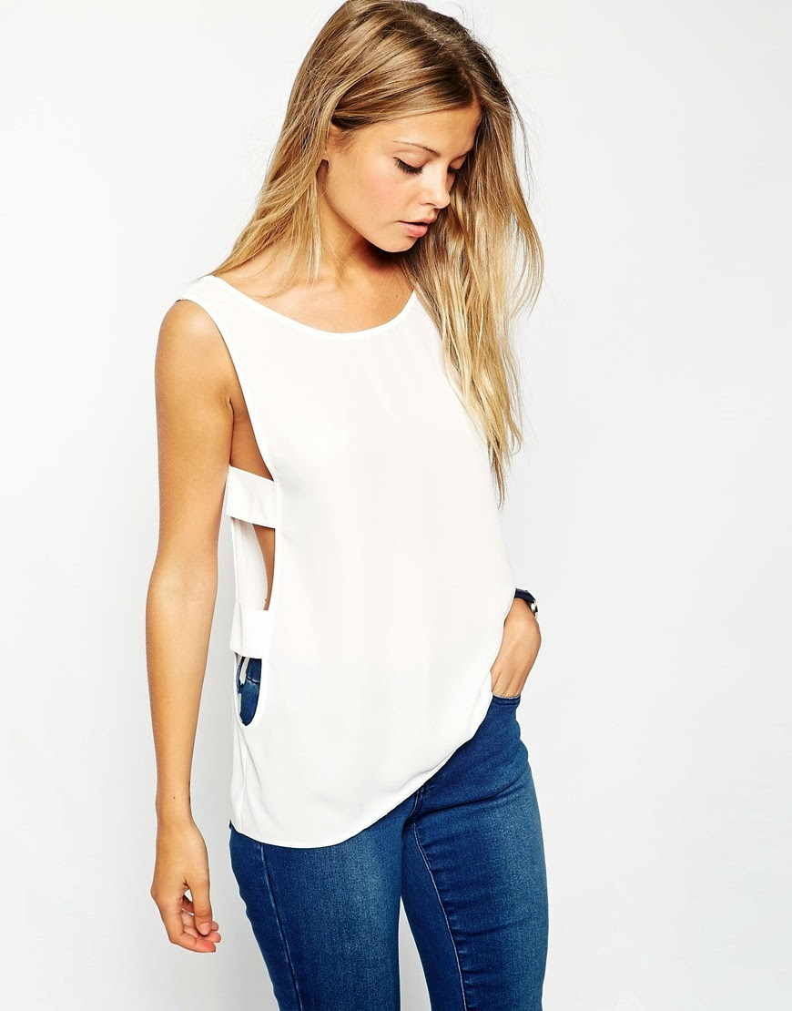 asos white top with open sides