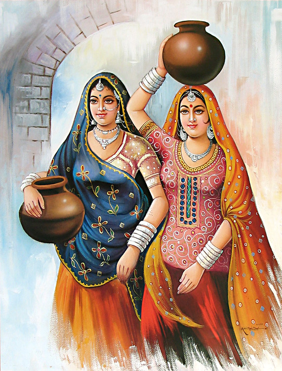Rajasthani Girls Art Paintings 11