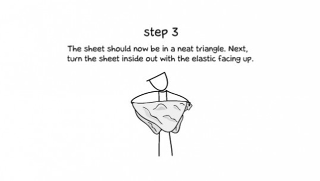 step 3 the sheet should now be in a neat triangle next turn the - How To Fold Fitted Sheets