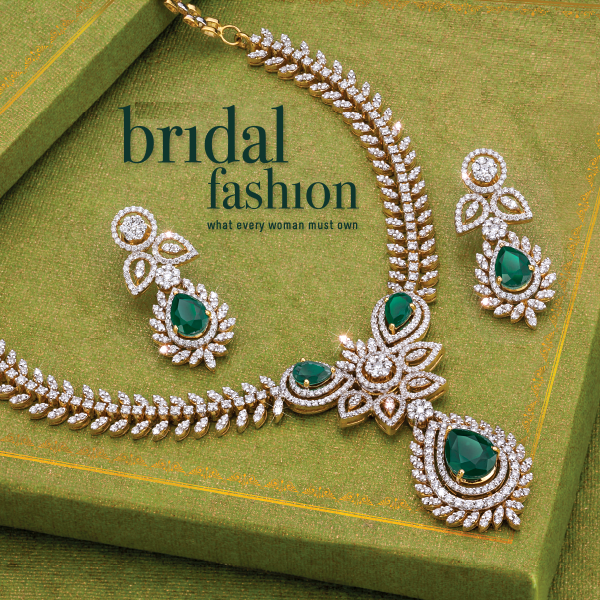 emerald and diamond necklace earrings from PNG diamonds bridal fashion
