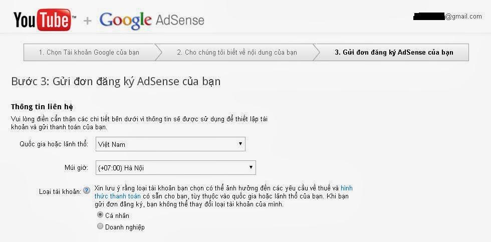 Đăng ký Google Adsense thông qua tài khoản Youtube