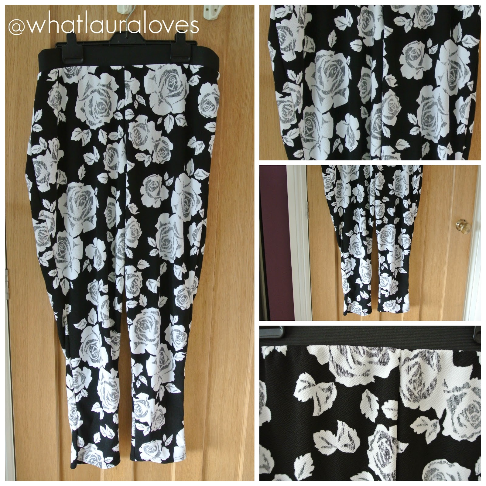 Black and White Floral Print Textured Slim Leg Trousers from Yours Clothing