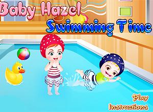 Baby Hazel aprende a nadar