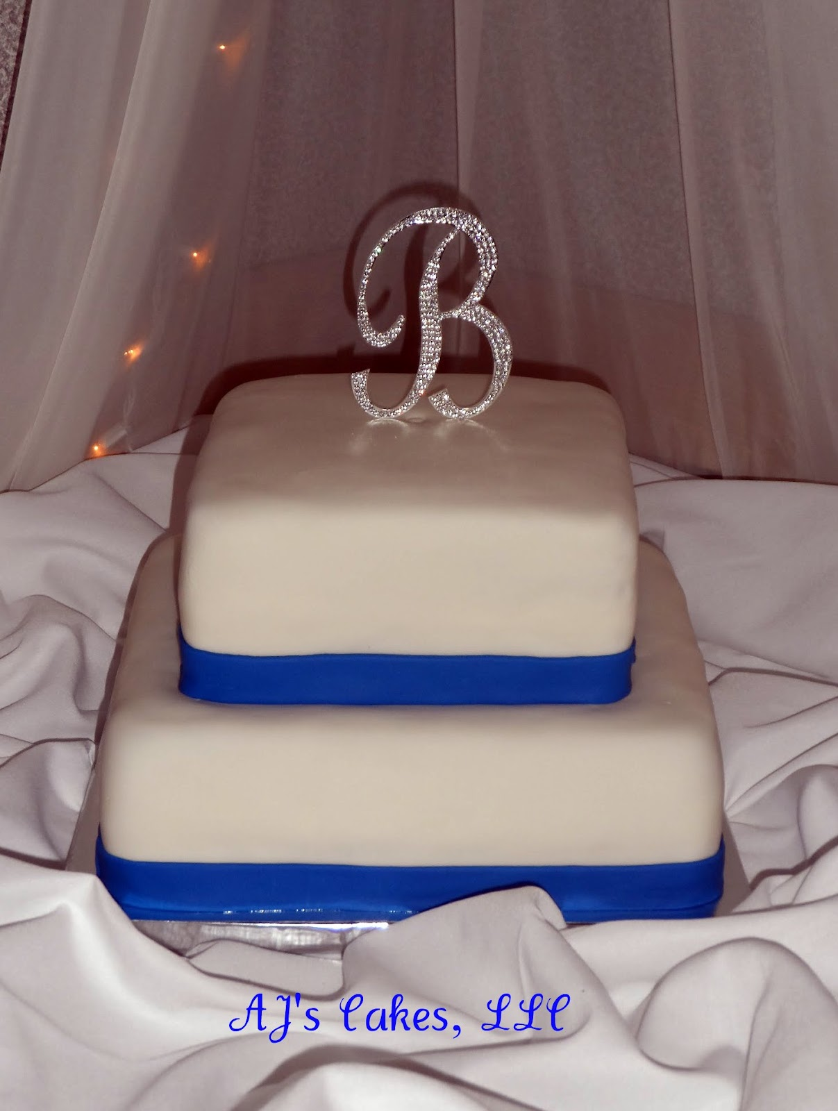 AJ s Cakes White and Royal Blue Wedding Cake