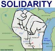 Wisconsin map graphic in the shape of a fist with the word solidarity on it