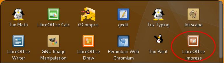 Membuka LibreOffice Impress pada Distro BlankOn