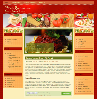 Vito's Restaurant Food Blogger Template