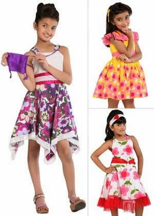 Homeshop18 : Summer Special – 3 Frocks for Girls + Accessories by Kilkari at Rs.1199  : Buy To Earn
