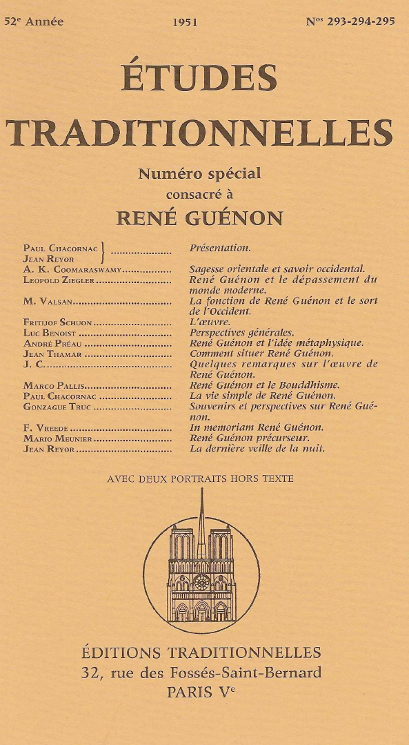 Études Traditionnelles - Numéro spécial consacré à René Guénon 1951