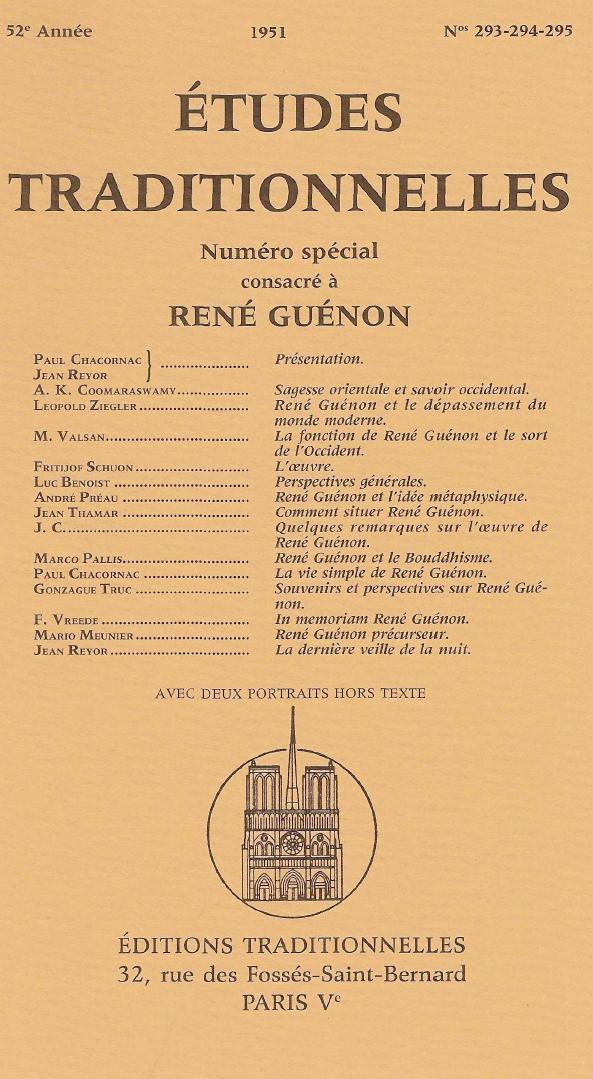 Études Traditionnelles - Numéro spécial consacré à René Guénon 1951