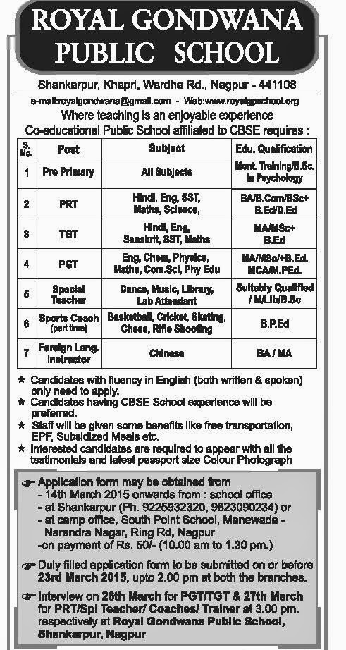 Jobs in Royal Gondwana Public School,Nagpur-2015